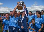 30 June 2019; Dublin players, from left, Nicole Owens, Niamh McEvoy, Sinead Aherne, Muireann Ni Scanaill and Hannah O'Neill celebrate with the cup following the Ladies Football Leinster Senior Championship Final match between Dublin and Westmeath at Netwatch Cullen Park in Carlow. Photo by Sam Barnes/Sportsfile