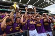 30 June 2019; Wexford captain Matthew O'Hanlon with the winning Wexford minor team following the Leinster GAA Hurling Senior Championship Final match between Kilkenny and Wexford at Croke Park in Dublin. Photo by Ramsey Cardy/Sportsfile