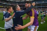 30 June 2019; Wexford manager Davy Fitzgerald and Paudie Foley following the Leinster GAA Hurling Senior Championship Final match between Kilkenny and Wexford at Croke Park in Dublin. Photo by Ramsey Cardy/Sportsfile