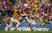 30 June 2019; Rory O'Connor of Wexford is fouled by Padraig Walsh of Kilkenny leading to a Wexford penalty during the Leinster GAA Hurling Senior Championship Final match between Kilkenny and Wexford at Croke Park in Dublin. Photo by Ramsey Cardy/Sportsfile