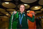 1 July 2019; Team Ireland boxer Kellie Harrington on her return home from the Minsk 2019 European Games at Dublin Airport in Dublin. Photo by Eóin Noonan/Sportsfile