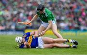 30 June 2019; Pádraic Maher of Tipperary in action against Graeme Mulcahy of Limerick during the Munster GAA Hurling Senior Championship Final match between Limerick and Tipperary at LIT Gaelic Grounds in Limerick. Photo by Piaras Ó Mídheach/Sportsfile
