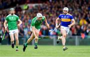 30 June 2019; Kyle Hayes of Limerick, supported by team-mate William O'Donoghue, gets past Pádraic Maher of Tipperary during the Munster GAA Hurling Senior Championship Final match between Limerick and Tipperary at LIT Gaelic Grounds in Limerick. Photo by Piaras Ó Mídheach/Sportsfile