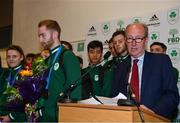1 July 2019; Minister for Transport, Tourism and Sport Shane Ross T.D. speaking at the to Team Ireland athletes and supporters on their return home from the Minsk 2019 European Games at Dublin Airport in Dublin. Photo by Eóin Noonan/Sportsfile