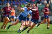 30 June 2019; Niamh McEvoy of Dublin in action against Maud Annie Foley of Westmeath during the Ladies Football Leinster Senior Championship Final match between Dublin and Westmeath at Netwatch Cullen Park in Carlow. Photo by Sam Barnes/Sportsfile
