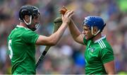 30 June 2019; Limerick players Diarmaid Byrnes, left, and Mike Casey celebrate after the Munster GAA Hurling Senior Championship Final match between Limerick and Tipperary at LIT Gaelic Grounds in Limerick. Photo by Piaras Ó Mídheach/Sportsfile