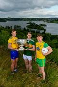 2 July 2019; In attendance during the GAA Football All Ireland Senior Championship Series National Launch are, from left, Enda Smith of Roscommon, Jason Foley of Kerry and Hugh McFadden of Donegal with The Sam Maguire Cup at Concra Wood Golf & Country Club in Castleblayney, Co. Monaghan. Photo by Sam Barnes/Sportsfile