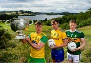 2 July 2019; In attendance during the GAA Football All Ireland Senior Championship Series National Launch are, from left, Hugh McFadden of Donegal, Enda Smith of Roscommon and Jason Foley of Kerry with The Sam Maguire Cup at Concra Wood Golf & Country Club in Castleblayney, Co. Monaghan. Photo by Sam Barnes/Sportsfile