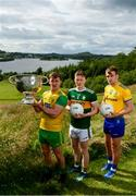 2 July 2019; In attendance during the GAA Football All Ireland Senior Championship Series National Launch are, from left, Hugh McFadden of Donegal, Jason Foley of Kerry and Enda Smith of Roscommon with The Sam Maguire Cup at Concra Wood Golf & Country Club in Castleblayney, Co. Monaghan. Photo by Sam Barnes/Sportsfile