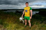 2 July 2019; Hugh McFadden of Donegal with The Sam Maguire Cup during the GAA Football All Ireland Senior Championship Series National Launch at Concra Wood Golf & Country Club in Castleblayney, Co. Monaghan. Photo by Sam Barnes/Sportsfile