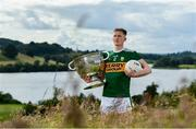 2 July 2019; Jason Foley of Kerry with The Sam Maguire Cup during the GAA Football All Ireland Senior Championship Series National Launch at Concra Wood Golf & Country Club in Castleblayney, Co. Monaghan. Photo by Sam Barnes/Sportsfile