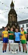 2 July 2019; Enda Smith, left, of Roscommon, with, from left to right, Jason Foley of Kerry, David Byrne of Dublin, and Hugh McFadden of Donegal, with the Sam Maguire Cup at the Diamond in Monaghan Town, before the GAA Football All Ireland Senior Championship Series National Launch at Scotstown GAA Club, St Mary's Park, Scotstown, Co. Monaghan. Photo by Ray McManus/Sportsfile
