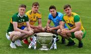 2 July 2019; Jason Foley, left, of Kerry, with, from left to right, Enda Smith of Roscommon, David Byrne of Dublin, and Hugh McFadden of Donegal, with the Sam Maguire Cup during the GAA Football All Ireland Senior Championship Series National Launch at Scotstown GAA Club, St Mary's Park, Scotstown, Co. Monaghan. Photo by Ray McManus/Sportsfile