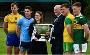 2 July 2019; Claire Liston, AIB, with Uachtarán Chumann Lúthchleas Gael John Horan and, from left, Enda Smith of Roscommon, David Byrne of Dublin, Hugh McFadden of Donegal, and Jason Foley of Kerry, before the GAA Football All Ireland Senior Championship Series National Launch at Scotstown GAA Club, St Mary's Park, Scotstown, Co. Monaghan. Photo by Ray McManus/Sportsfile