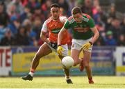 29 June 2019; Fionn McDonagh of Mayo in action against Jemar Hall of Armagh during the GAA Football All-Ireland Senior Championship Round 3 match between Mayo and Armagh at Elverys MacHale Park in Castlebar, Mayo. Photo by Ben McShane/Sportsfile