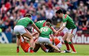 29 June 2019; Players from both teams contest for the ball during the GAA Football All-Ireland Senior Championship Round 3 match between Mayo and Armagh at Elverys MacHale Park in Castlebar, Mayo. Photo by Ben McShane/Sportsfile