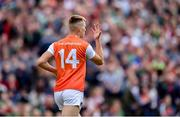 29 June 2019; Rian O'Neill of Armagh celebrates after scoring his side's first goal during the GAA Football All-Ireland Senior Championship Round 3 match between Mayo and Armagh at Elverys MacHale Park in Castlebar, Mayo. Photo by Ben McShane/Sportsfile