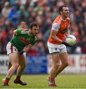 29 June 2019; Brendan Donaghy of Armagh and James Carr of Mayo during the GAA Football All-Ireland Senior Championship Round 3 match between Mayo and Armagh at Elverys MacHale Park in Castlebar, Mayo. Photo by Ben McShane/Sportsfile