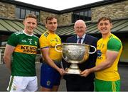 2 July 2019; Uachtarán Chumann Lúthchleas Gael John Horan with Jason Foley of Kerry, Enda Smith of Roscommon, and Hugh McFadden of Donegal, during the GAA Football All Ireland Senior Championship Series National Launch at Concra Wood Golf & Country Club in Castleblayney, Co. Monaghan. Photo by Ray McManus/Sportsfile