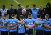 2 June 2019; Dublin manager Tom Gray speaks to his players following the EirGrid Leinster GAA Football Under 20 Championship Quarter-Final match between Longford and Dublin at Glennon Brothers Pearse Park in Longford. Photo by Eóin Noonan/Sportsfile