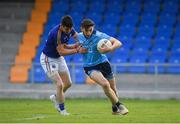2 June 2019; Ciarán Archer of Dublin is tackled by Gavin Hughes of Longford during the EirGrid Leinster GAA Football Under 20 Championship Quarter-Final match between Longford and Dublin at Glennon Brothers Pearse Park in Longford. Photo by Eóin Noonan/Sportsfile