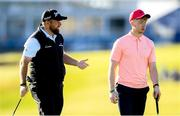 3 July 2019; Shane Lowry of Ireland left, with Limerick hurler Cian Lynch during the Pro-Am round ahead of the Dubai Duty Free Irish Open at Lahinch Golf Club in Lahinch, Co. Clare. Photo by Ramsey Cardy/Sportsfile