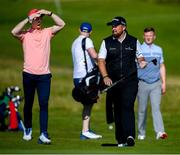 3 July 2019; Limerick hurler Cian Lynch, left, with, Shane Lowry of Ireland and Galway hurler Joe Canning during the Pro-Am round ahead of the Dubai Duty Free Irish Open at Lahinch Golf Club in Lahinch, Co. Clare. Photo by Ramsey Cardy/Sportsfile