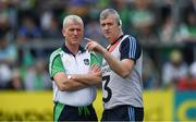 30 June 2019; Limerick manager John Kiely, left, and coach/selector Brian Geary before the Munster GAA Hurling Senior Championship Final match between Limerick and Tipperary at LIT Gaelic Grounds in Limerick. Photo by Piaras Ó Mídheach/Sportsfile