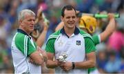 30 June 2019; Limerick manager John Kiely, left, and coach Paul Kinnerk before the Munster GAA Hurling Senior Championship Final match between Limerick and Tipperary at LIT Gaelic Grounds in Limerick. Photo by Piaras Ó Mídheach/Sportsfile