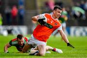 29 June 2019; Paul Hughes of Armagh in action against Colm Boyle of Mayo during the GAA Football All-Ireland Senior Championship Round 3 match between Mayo and Armagh at Elverys MacHale Park in Castlebar, Mayo. Photo by Brendan Moran/Sportsfile