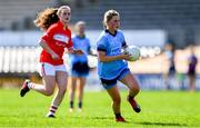 21 April 2019; Aoife Kane of Dublin gets past Clare O'Shea of Cork during the Lidl NFL Division 1 semi-final match between Cork and Dublin at the Nowlan Park in Kilkenny. Photo by Piaras Ó Mídheach/Sportsfile