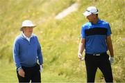 3 July 2019; Irish businessman and racehorse owner JP McManus, left, with Robert Karlsson of Sweden during the Pro-Am round ahead of the Dubai Duty Free Irish Open at Lahinch Golf Club in Lahinch, Co. Clare. Photo by Ramsey Cardy/Sportsfile