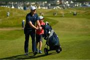 3 July 2019; Former Munster and Ireland rugby player Paul O'Connell, with his son and caddie Paddy, during the Pro-Am round ahead of the Dubai Duty Free Irish Open at Lahinch Golf Club in Lahinch, Co. Clare. Photo by Ramsey Cardy/Sportsfile