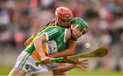 3 July 2019; John Murphy of Offaly in action against Eoin O'Leary of Wexford during the Bord Gais Energy Leinster GAA Hurling U20 Championship Semi-Final match between Offaly and Wexford at Bord na Mona O'Connor Park in Tullamore, Offaly. Photo by Sam Barnes/Sportsfile