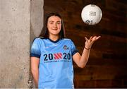 """4 July 2019; AIG Ireland announced today that the logo of the 20x20 campaign will replace their logo on the front of the Dublin GAA jersey for upcoming ladies' football, camogie, football & hurling fixtures.  Niamh Hetherton of Dublin was at the launch today to help promote awareness of this """"If She Can't See It, She Can't Be It"""" initiative, designed to shift Ireland's cultural perception of women's sport by increasing media coverage, participation & attendance in women's sport by 20% by the year 2020. Photo by Sam Barnes/Sportsfile"""