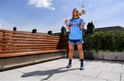 """4 July 2019; AIG Ireland announced today that the logo of the 20x20 campaign will replace their logo on the front of the Dublin GAA jersey for upcoming ladies' football, camogie, football & hurling fixtures. Laura Twomey of Dublin was at the launch today to help promote awareness of this """"If She Can't See It, She Can't Be It"""" initiative, designed to shift Ireland's cultural perception of women's sport by increasing media coverage, participation & attendance in women's sport by 20% by the year 2020. Photo by Sam Barnes/Sportsfile"""