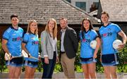 """4 July 2019; AIG Ireland announced today that the logo of the 20x20 campaign will replace their logo on the front of the Dublin GAA jersey for upcoming ladies' football, camogie, football & hurling fixtures. In attendance at the launch today were, from left, David Treacy of Dublin, Laura Twomey of Dublin, Sharon O'Connor, Campaign Manager, 20x20, John Gillick, Head of Sponsorship, AIG, Niamh Hetherton of Dublin and Dean Rock of Dublin, to help promote awareness of this """"If She Can't See It, She Can't Be It"""" initiative, designed to shift Ireland's cultural perception of women's sport by increasing media coverage, participation & attendance in women's sport by 20% by the year 2020. Photo by Sam Barnes/Sportsfile"""