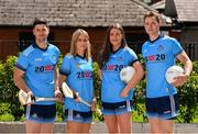 """4 July 2019; AIG Ireland announced today that the logo of the 20x20 campaign will replace their logo on the front of the Dublin GAA jersey for upcoming ladies' football, camogie, football & hurling fixtures. In attendance at the launch today were Dublin GAA players, from left, David Treacy, Laura Twomey, Niamh Hetherton and Dean Rock, to help promote awareness of this """"If She Can't See It, She Can't Be It"""" initiative, designed to shift Ireland's cultural perception of women's sport by increasing media coverage, participation & attendance in women's sport by 20% by the year 2020. Photo by Sam Barnes/Sportsfile"""