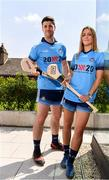 """4 July 2019; AIG Ireland announced today that the logo of the 20x20 campaign will replace their logo on the front of the Dublin GAA jersey for upcoming ladies' football, camogie, football & hurling fixtures. Laura Twomey and David Treacy of Dublin were at the launch today to help promote awareness of this """"If She Can't See It, She Can't Be It"""" initiative, designed to shift Ireland's cultural perception of women's sport by increasing media coverage, participation & attendance in women's sport by 20% by the year 2020. Photo by Sam Barnes/Sportsfile"""