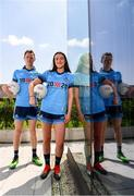 """4 July 2019; AIG Ireland announced today that the logo of the 20x20 campaign will replace their logo on the front of the Dublin GAA jersey for upcoming ladies' football, camogie, football & hurling fixtures. Dean Rock and Niamh Hetherton of Dublin were at the launch today to help promote awareness of this """"If She Can't See It, She Can't Be It"""" initiative, designed to shift Ireland's cultural perception of women's sport by increasing media coverage, participation & attendance in women's sport by 20% by the year 2020. Photo by Sam Barnes/Sportsfile"""