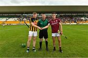 4 July 2019; Referee James Owens with Kilkenny captain Evan Shefflin and Galway captain Caimin Killeen before the Bord Gais Energy Leinster GAA Hurling U20 Championship semi-final match between Galway and Kilkenny at Bord na Mona O'Connor Park in Tullamore, Offaly. Photo by Matt Browne/Sportsfile