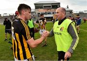 4 July 2019; Kilkenny manager DJ Carey shakes hands with his son Michael after the Bord Gais Energy Leinster GAA Hurling U20 Championship semi-final match between Galway and Kilkenny at Bord na Mona O'Connor Park in Tullamore, Offaly. Photo by Matt Browne/Sportsfile
