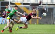 5 July 2019; James McLoughlin of Galway in action against Dylan Thornton of Mayo during the Electric Ireland Connacht GAA Football Minor Championship Final match between Galway and Mayo at Tuam Stadium in Tuam, Galway. Photo by Matt Browne/Sportsfile
