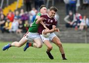 5 July 2019; Daniel Cox of Galway is tackled by Aidan Cosgrove of Mayo during the Electric Ireland Connacht GAA Football Minor Championship Final match between Galway and Mayo at Tuam Stadium in Tuam, Galway. Photo by Matt Browne/Sportsfile