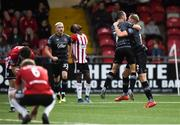 5 July 2019; Georgie Kelly of Dundalk, right, celebrates with Michael Duffy after scoring his side's first goal during the SSE Airtricity League Premier Division match between Derry City and Dundalk at the Ryan McBride Brandywell Stadium in Derry. Photo by Oliver McVeigh/Sportsfile