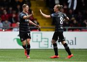 5 July 2019; Georgie Kelly of Dundalk, left, celebrates with John Mountney after scoring his side's first goal during the SSE Airtricity League Premier Division match between Derry City and Dundalk at the Ryan McBride Brandywell Stadium in Derry. Photo by Oliver McVeigh/Sportsfile