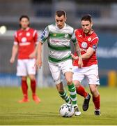 5 July 2019; Sean Kavanagh of Shamrock Rovers in action against John Russell of Sligo Rovers during the SSE Airtricity League Premier Division match between Shamrock Rovers and Sligo Rovers at Tallaght Stadium in Tallaght, Dublin. Photo by Ben McShane/Sportsfile