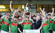 5 July 2019; Mayo captain Aidan Cosgrove lifts the cup following the Electric Ireland Connacht GAA Football Minor Championship Final match between Galway and Mayo at Tuam Stadium in Tuam, Galway. Photo by Matt Browne/Sportsfile