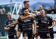 5 July 2019; Pat Hoban of Dundalk, centre, celebrates after scoring his sides second goal during the SSE Airtricity League Premier Division match between Derry City and Dundalk at the Ryan McBride Brandywell Stadium in Derry. Photo by Oliver McVeigh/Sportsfile