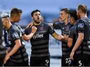 5 July 2019; Pat Hoban of Dundalk, centre, celebrates after scoring his side's second goal during the SSE Airtricity League Premier Division match between Derry City and Dundalk at the Ryan McBride Brandywell Stadium in Derry. Photo by Oliver McVeigh/Sportsfile